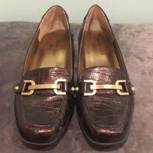 Anne Klein Bronze Alligator Skin Loafers